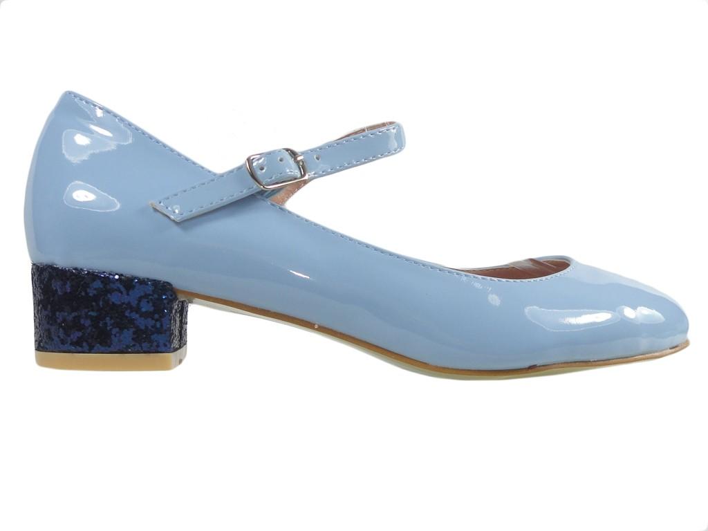 ff2ee7bb Błękitne czółenka eko skóra niskie buty z paskiem - KOKIETKI