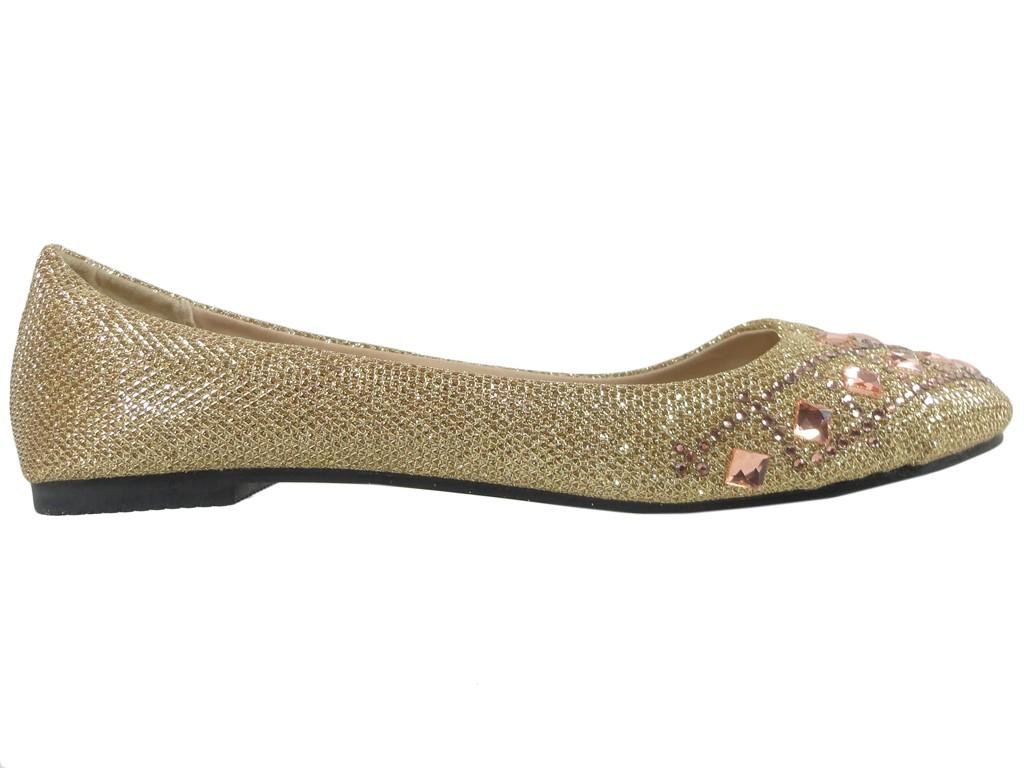 Golden brocade ballerinas with zirconia and pebbles - 1