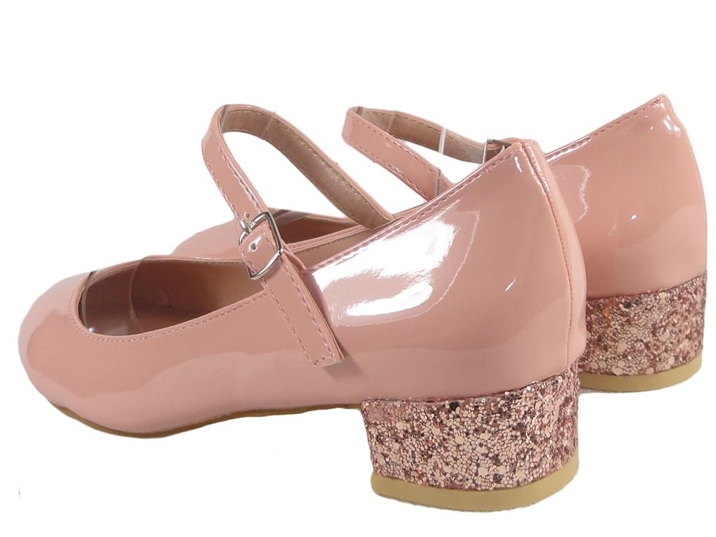 74591f61 Różowe czółenka eko skóra niskie buty z paskiem - KOKIETKI