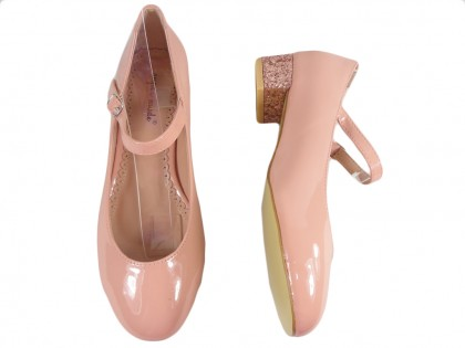 Różowe czółenka eko skóra niskie buty z paskiem