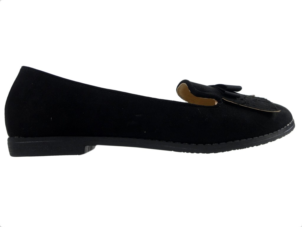 Black suede moccasins women's shoes - 1