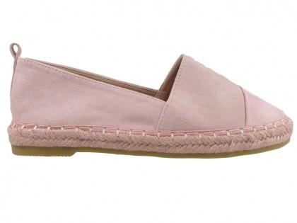 Rózsaszín velúr espadrilles könnyű cipő - 1