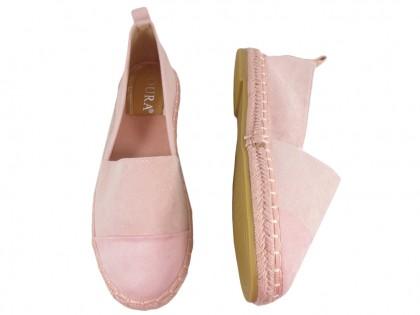 Rózsaszín velúr espadrilles könnyű cipő - 2