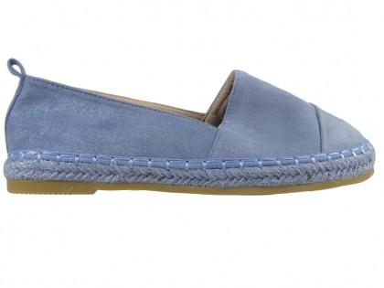 Kék velúr espadrilles könnyű cipő - 1