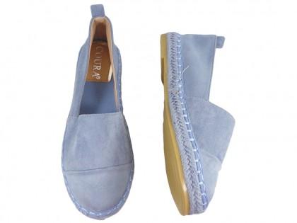Kék velúr espadrilles könnyű cipő - 2