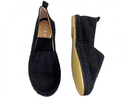 Czarne espadryle zamszowe lekkie buty