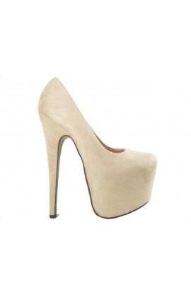 Beżowe szpilki damskie zamszowe high heels