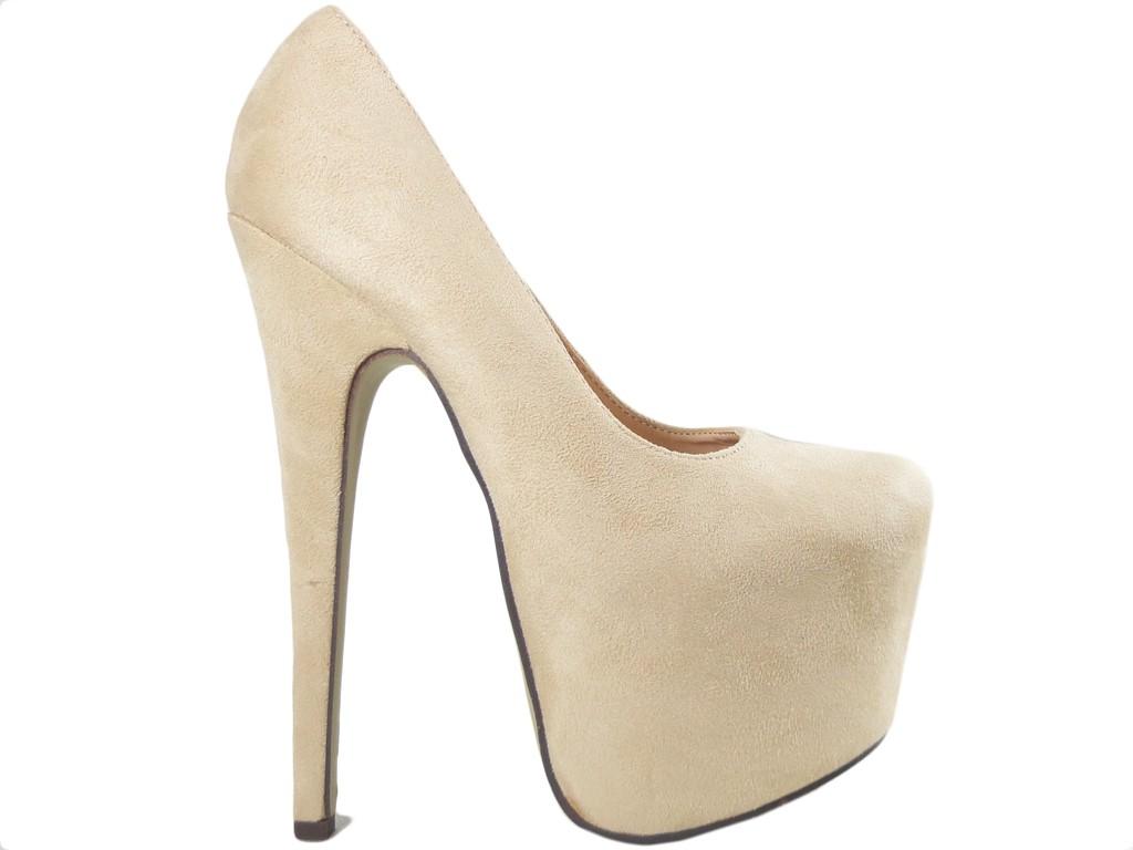 Beige suede high heels female suede pins - 1