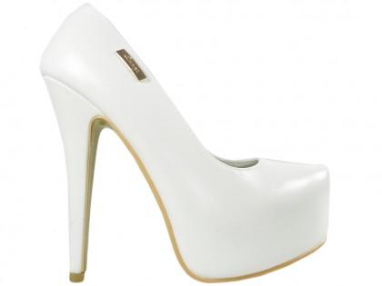 Weiße matte Hochzeits-High Heels auf Plattform-Öko-Leder - 1