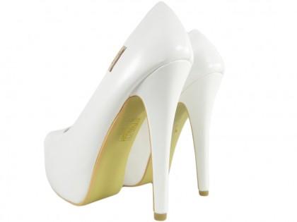 Weiße matte Hochzeits-High Heels auf Plattform-Öko-Leder - 2
