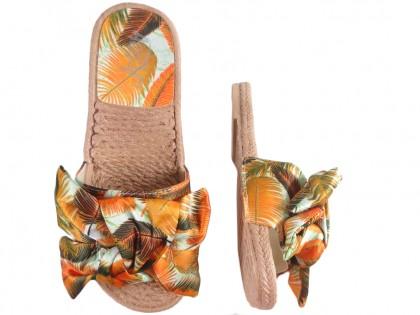 Pomarańczowe klapki damskie płaskie buty letnie