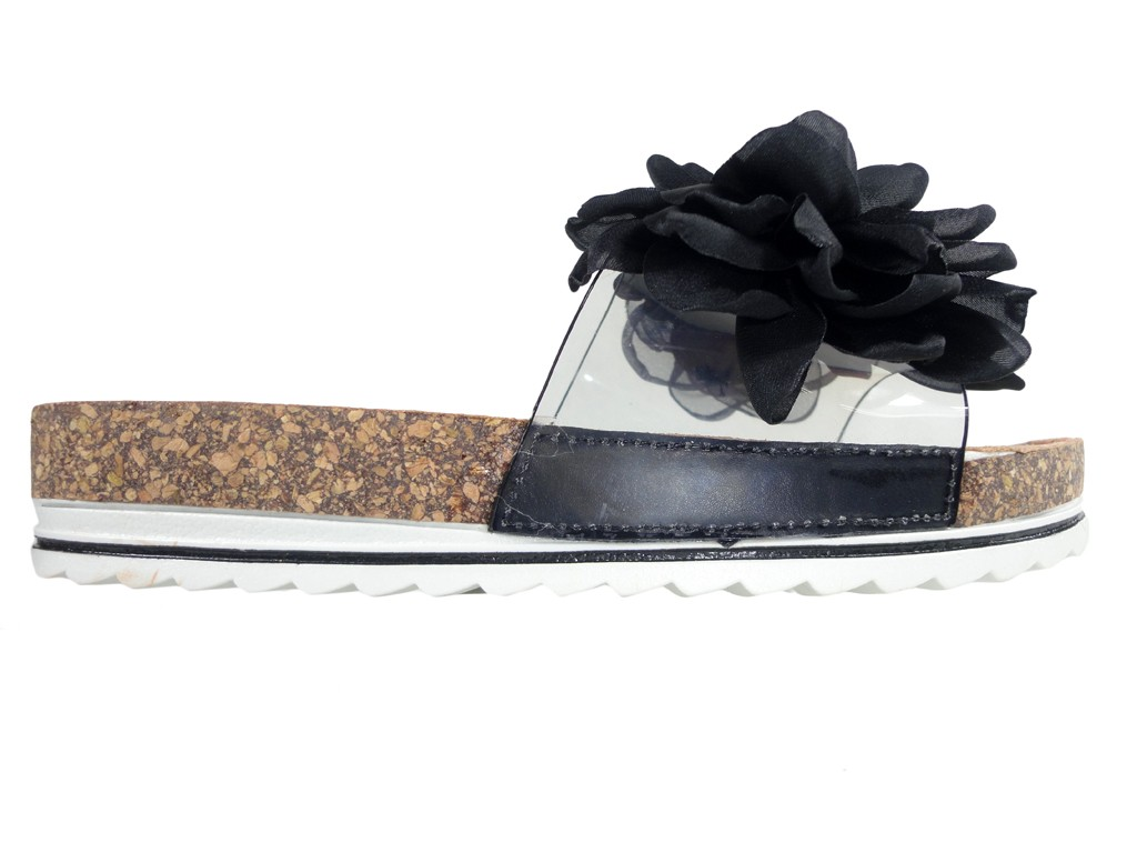 Black flip-flops on a cork with a bow women's shoes - 1
