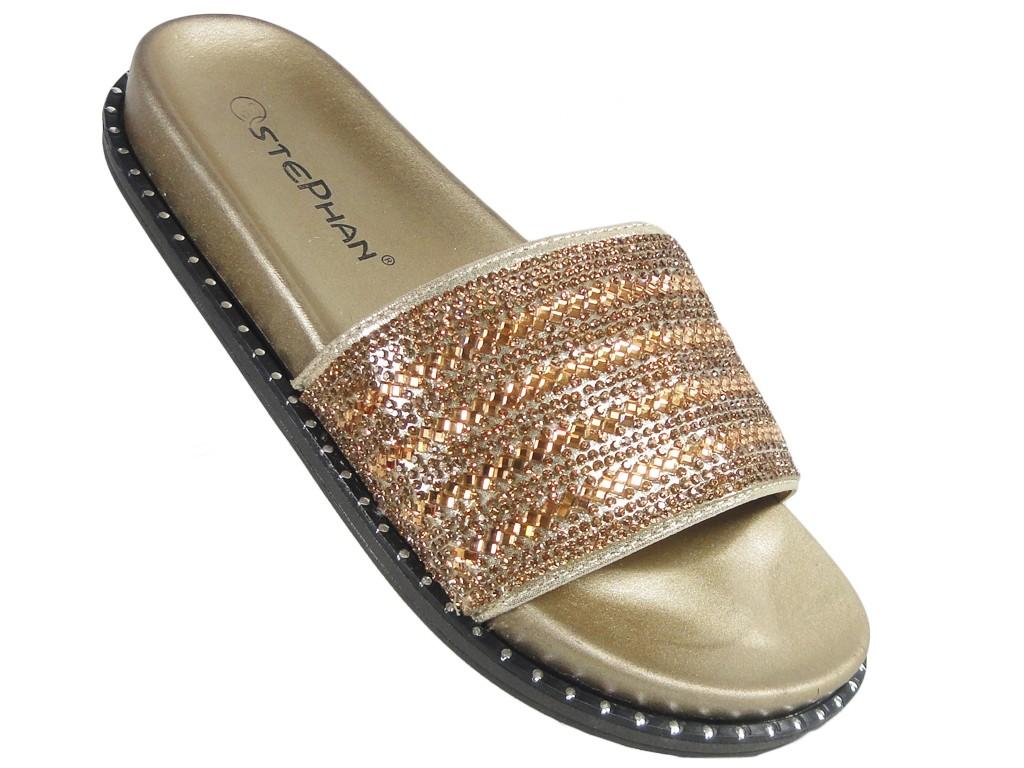 3e7b3ddc073c05 Złote gumowe klapki z cyrkoniami błyszczące - KOKIETKI