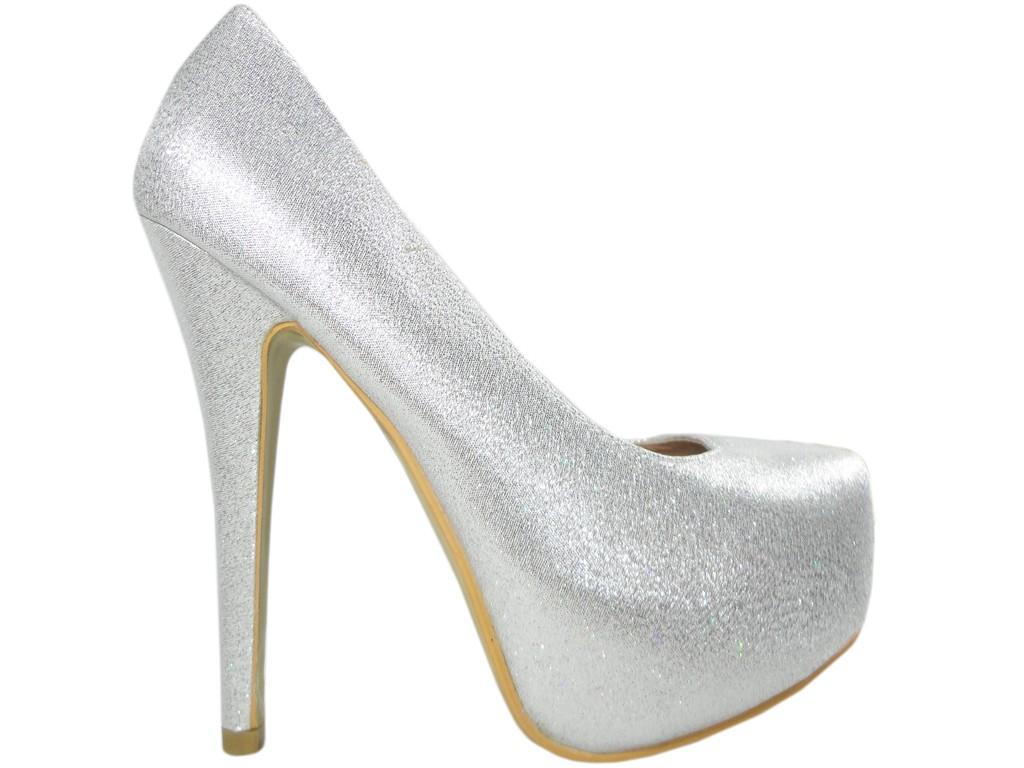 Srebrne ślubne szpilki na platformie buty damskie