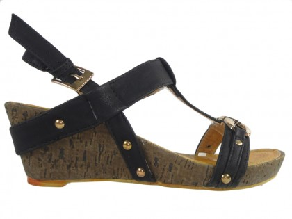 Black women's sandals on eco leather cork - 1