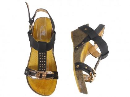 Czarne sandały damskie na korku eco skóra