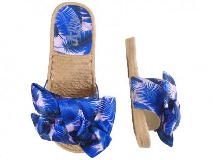 Niebieskie klapki damskie płaskie buty letnie