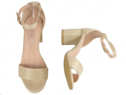 Beige sandals on a pole with a diced belt - 2