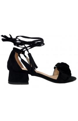 Czarne sandały damskie na słupku wiązane