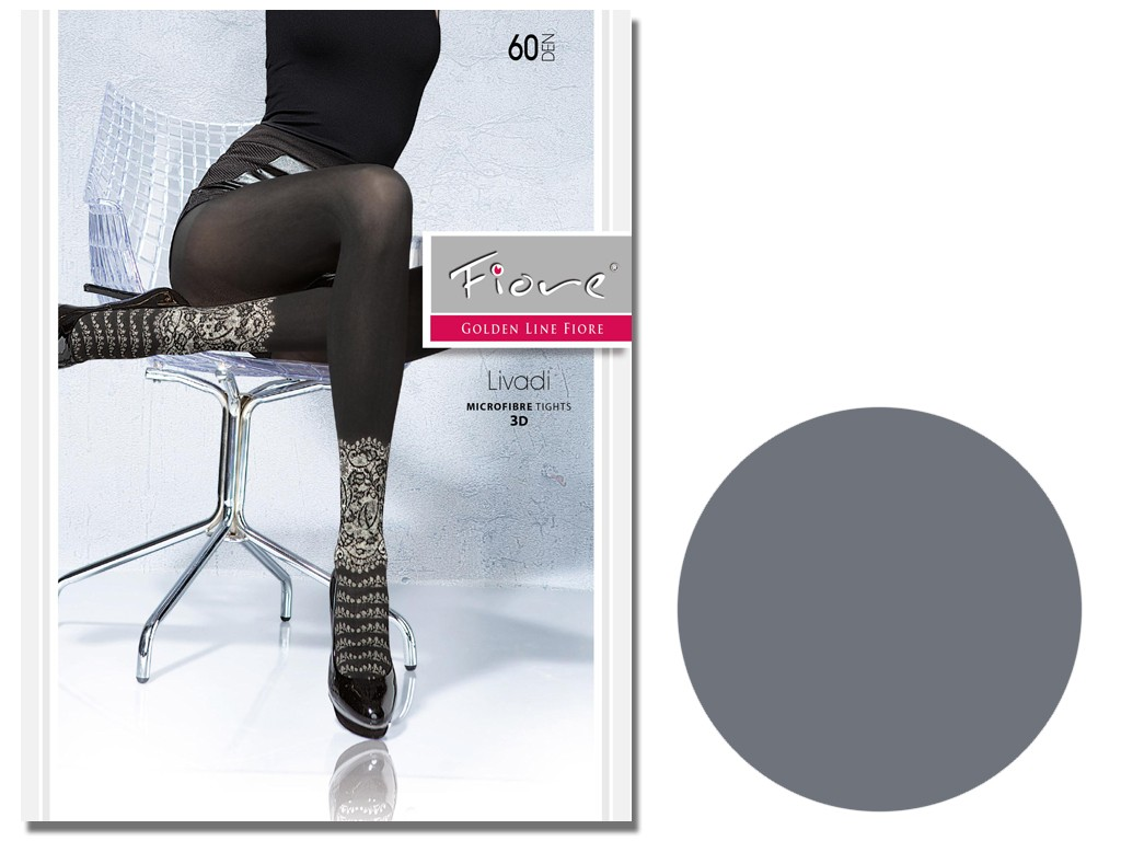 Black Fiore tights covering 60 den with pattern - 3