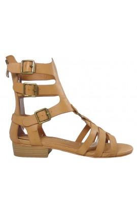 Brązowe sandały damskie gladiatorki skóra eco