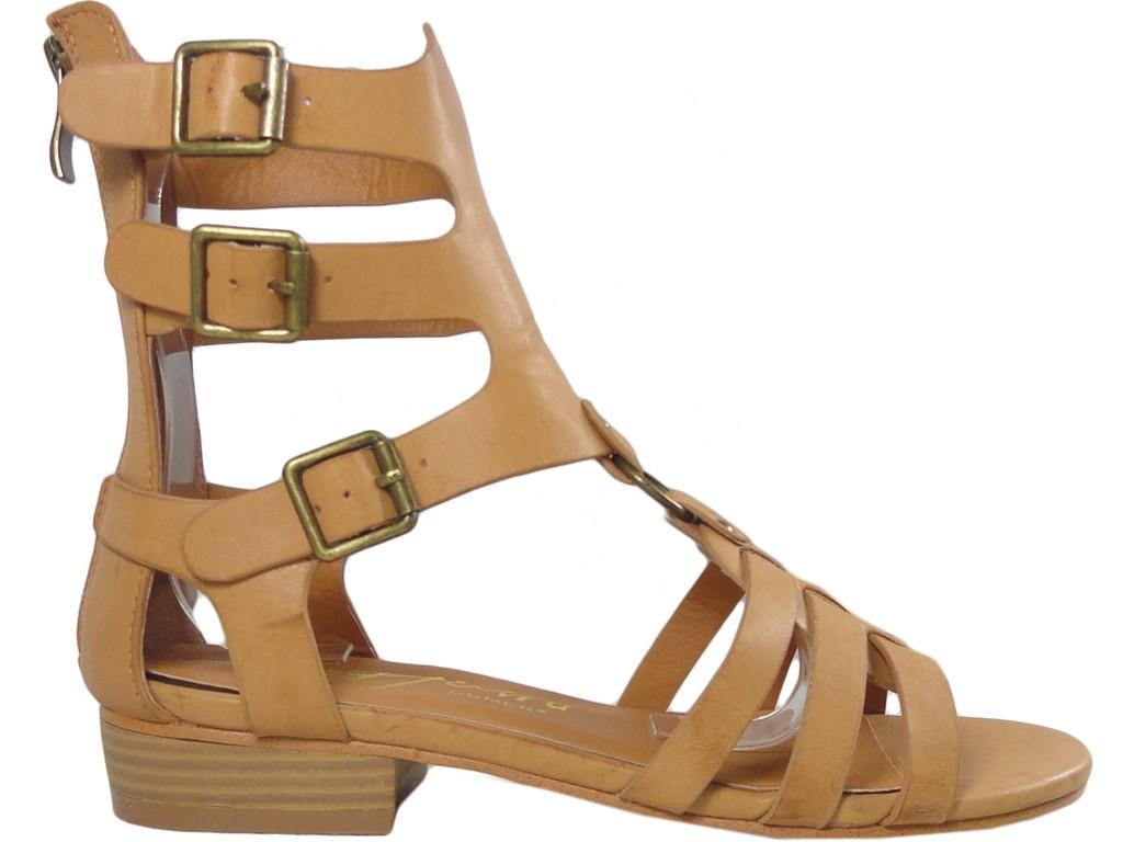 Brown ladies' gladiatorial sandals eco leather - 1