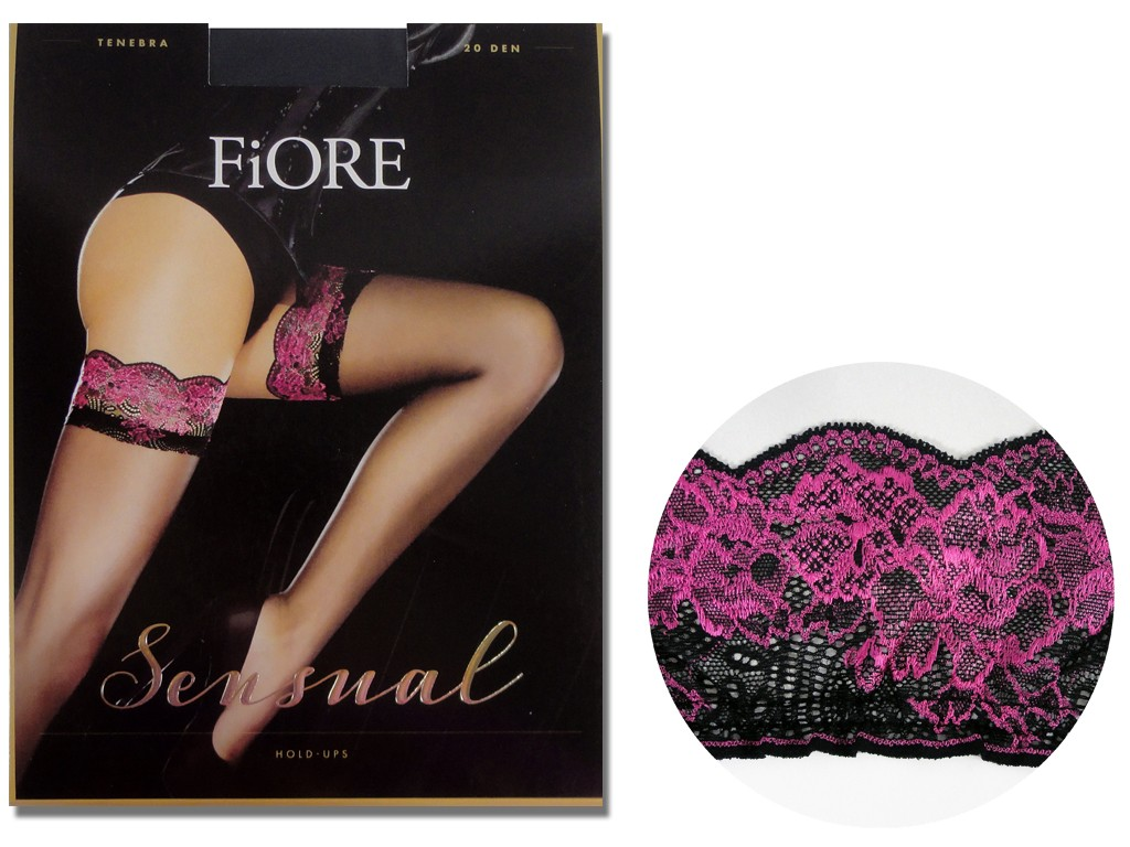 Self-supporting stockings Pink black lace - 4