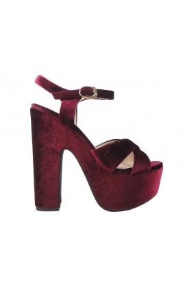 Outlet bordowe sandały na platformie słupek buty damskie