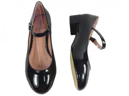 Czarne czółenka eko skóra niskie buty z paskiem