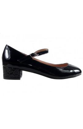 Outlet czarne czółenka eko skóra niskie buty