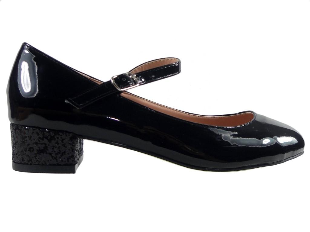 Outlet schwarz Pumps Öko-Leder niedrige Schuhe - 1