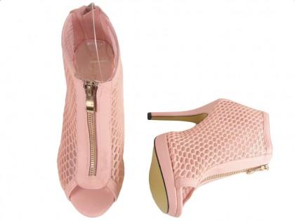 Rózowe ażurowe sandały botki damskie buty szpilki