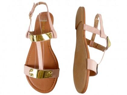 Różowe sandały damskie płaskie buty