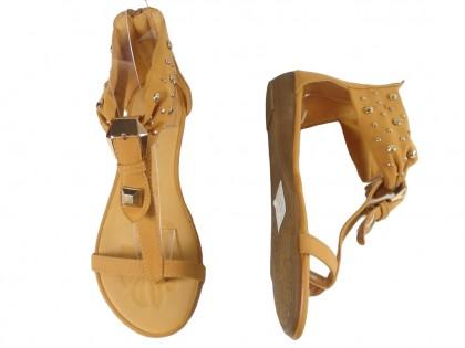 Sandały damskie z ćwiekami płaskie japonki