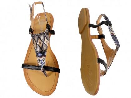 Czarne sandały damskie płaskie buty japonki