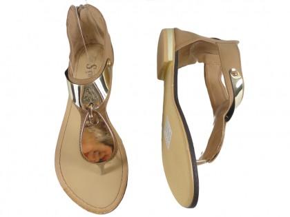 Sandały damskie z cholewką camel płaskie