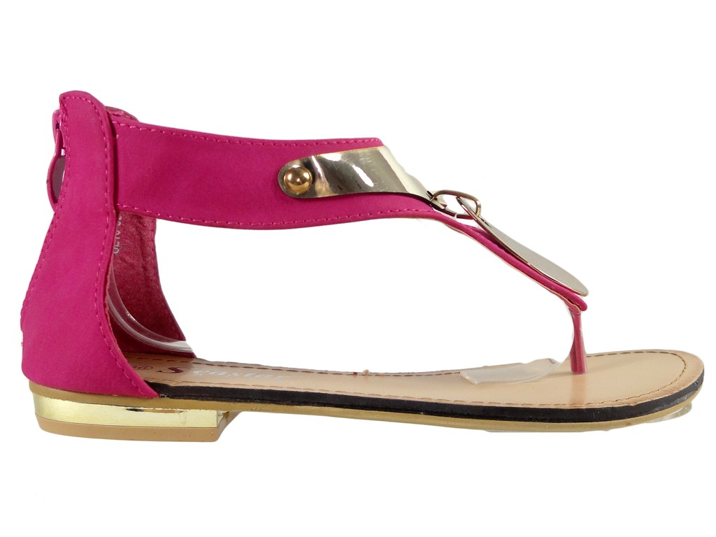 Pink women's sandals with a flat upper - 1
