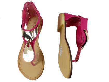 Różowe sandały damskie z cholewką płaskie