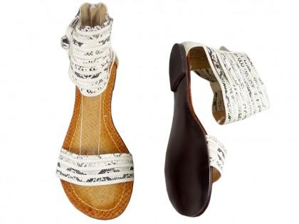 Sandały damskie z cholewką pasek w kostce
