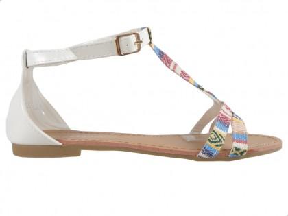 White women's sandals flat summer boots - 1