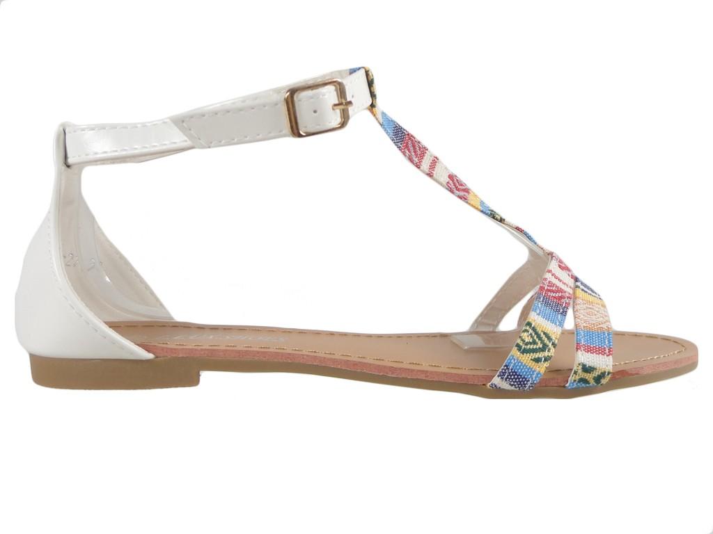 Białe sandały damskie płaskie buty letnie
