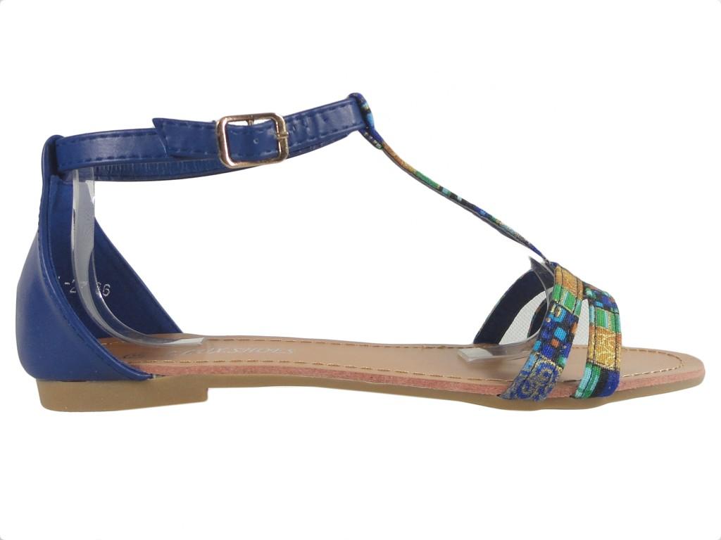 Dark blue women's sandals summer flat shoes - 1