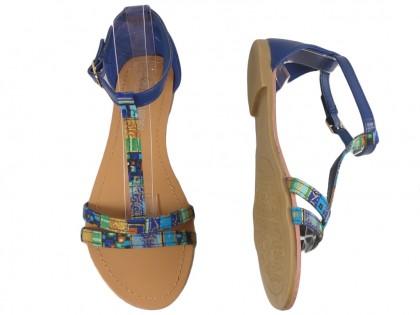 Granatowe sandały damskie letnie płaskie buty