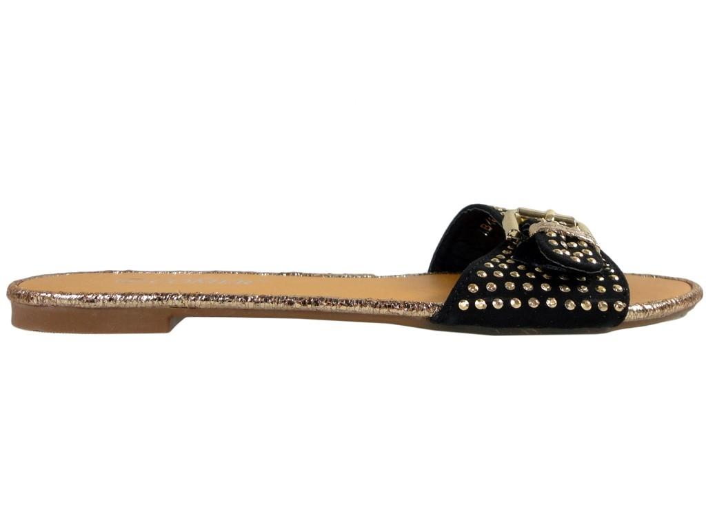 Black women's flat flip-flops with studs - 1