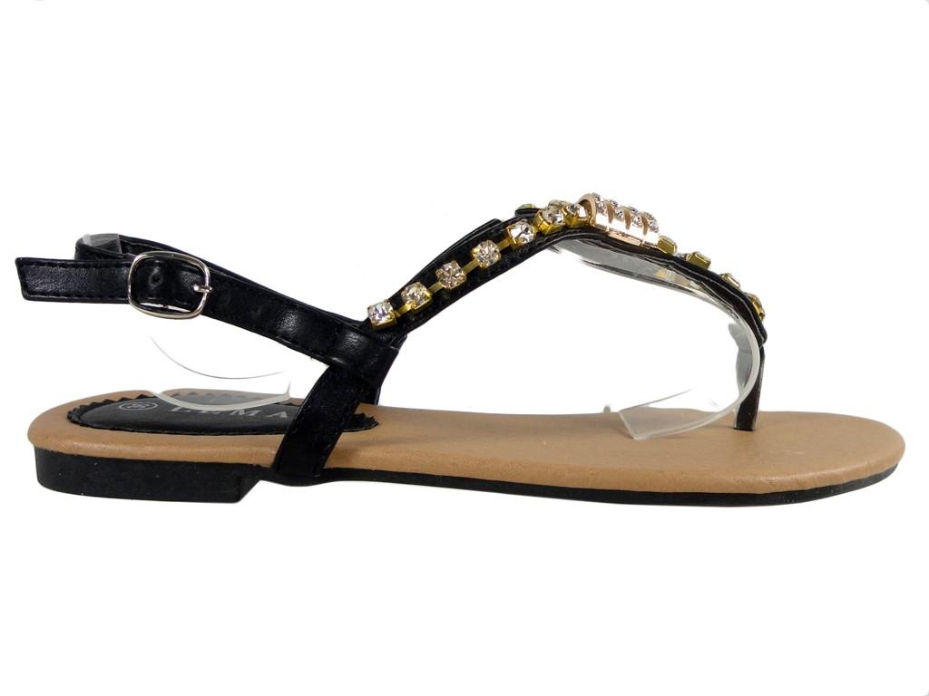 Black women's flat sandals with zirconia - 1