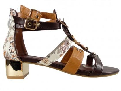 Női barna szandál római cipő - 1