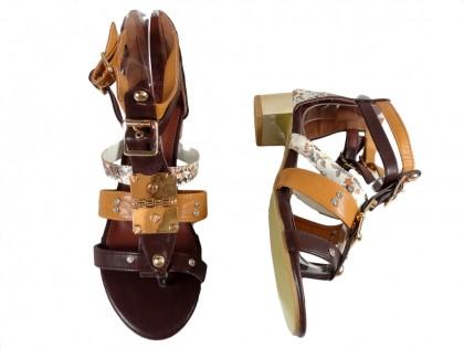 Brązowe sandały damskie buty rzymianki