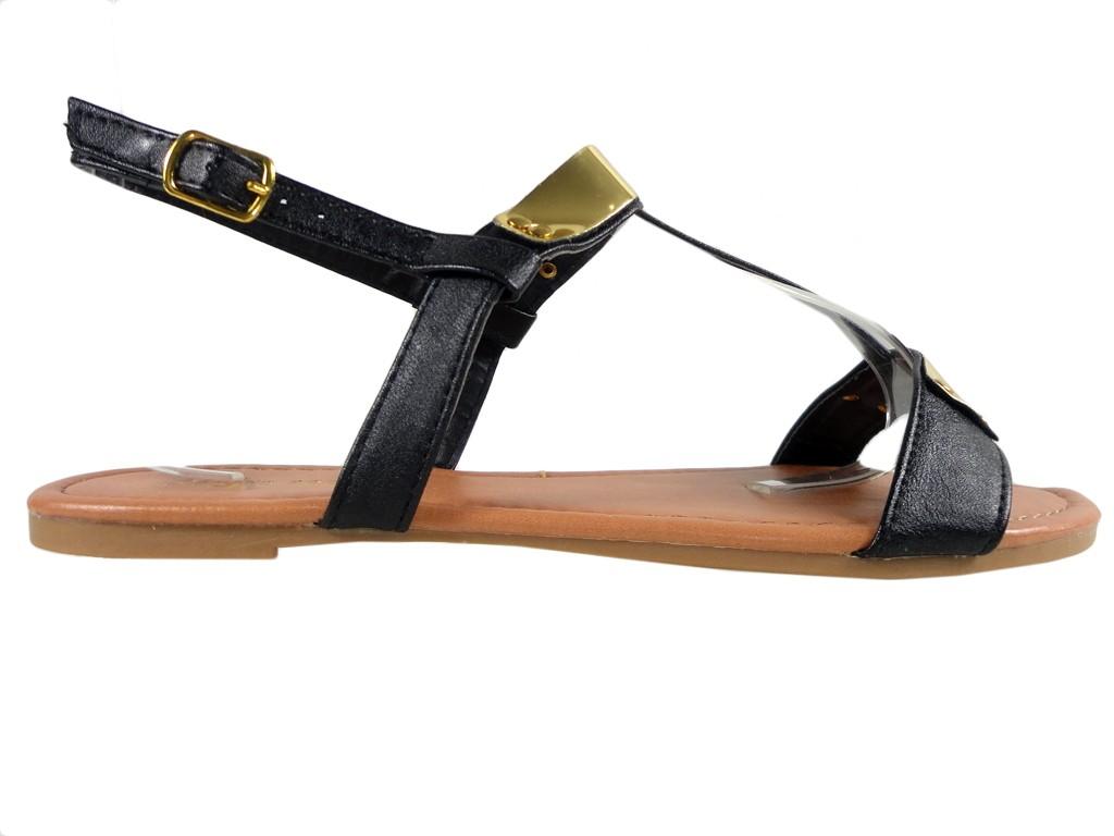 Schwarze flache Sandalen, flache Schuhe aus Öko-Leder - 1