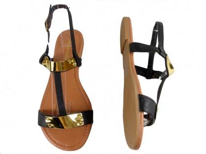 Czarne płaskie sandały eko skóra płaskie buty