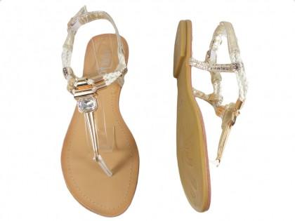 Biało złote sandały damskie płaskie buty